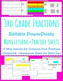 17 Fractions Mini Lessons+Classwork+homework- editable ppt.