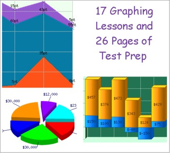 17 Graphing Practice Lessons and 26 pages of Graphing Test Prep Bundle