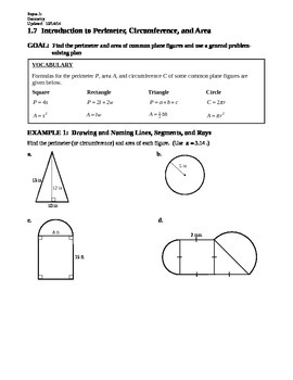 1.7 Introduction to Perimeter, Circumference, and Area