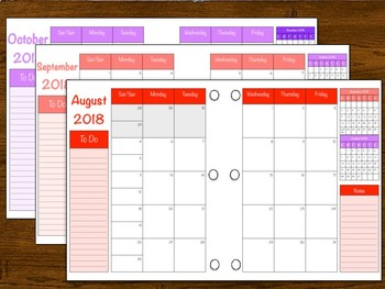 2018-2019 Teacher Planning Calendar with Annual Updates for Free!
