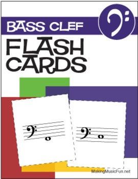 17 Music Flash Cards | Bass Clef (Digital Print)