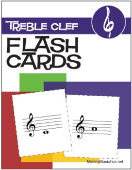 17 Music Flash Cards | Treble Clef (Digital Print)