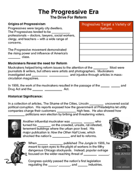 17 - The Progressive Era - Scaffold/Guided Notes (Blank and Filled-In)