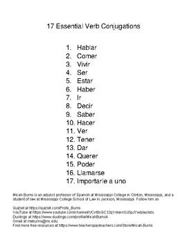 17 Vital Spanish Verb Conjugations Mini Conjugation Book for Spanish