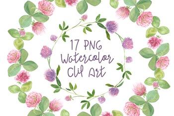 17 Watercolor Clover Clip Art