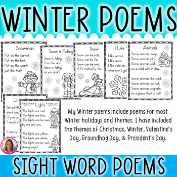 17 Winter Themed Sight Word Poems for Shared Reading (for Beginning Readers)