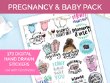 173 Digital Pregnancy and Baby Clip Art - Sticker PNGs and GoodNotes Booklet