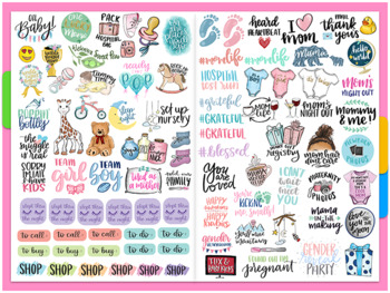 173 Digital Pregnancy And Baby Clip Art Sticker Pngs And Goodnotes Booklet