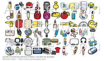 174 School Supplies Clip Art