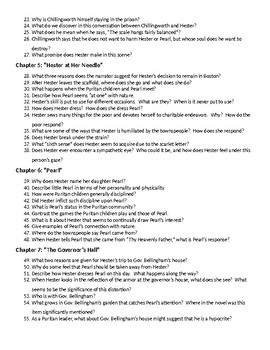175 Reading Questions for Hawthorne's The Scarlet Letter