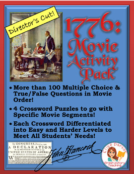 1776 Director's Cut Movie Worksheets & Puzzles