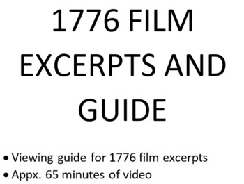 1776 Musical Film Guide - 65 minutes of excerpts