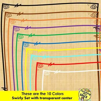 178 Borders Swirly Clip Art {13+ designs in 10 Colors}