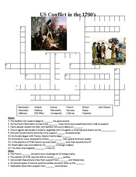 1790's Conflict in the US Crossword or Web Quest