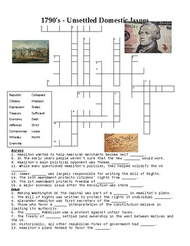 1790's USA: Unsettled Domestic Issues Crossword or Web Quest