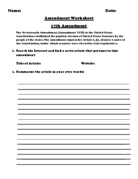 17th Amendment Webquest Summary And Turn And Talk Assignment Tpt