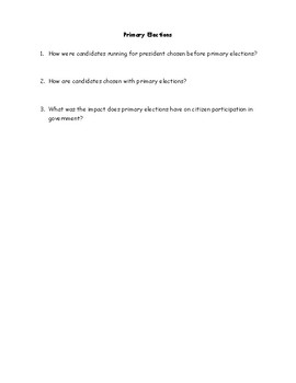17th Amendment and Primary Election Worksheet with Answer Key