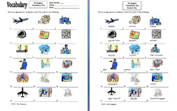 Airport Vocabulary 18 IDs Worksheet for Any Language