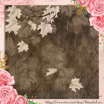 18 Autumn Leaves Digital Papers, thanksgiving fall wedding