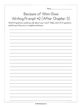 Because of Winn-Dixie (Winn Dixie):  18 Journal Prompts