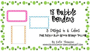18 Bubble Borders // Purple - Pink - Blue - Green - Yellow - Orange