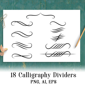 18 Calligraphy Dividers, Page Divider Clipart, Calligraphy Clipart, Flourish