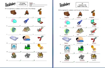 Camping and Outdoors 18 Vocabulary IDs for Any Language