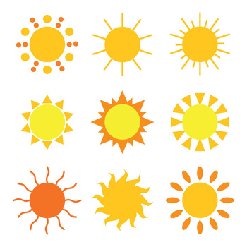 18 Cartoon Sun Graphics | Vector Clip Art | Cute Summer Digital Clipart