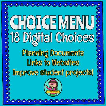 18-Choice Digital Product Menu {Choice Board}