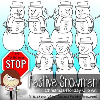 Snowman Clip art {The Teacher Stop}