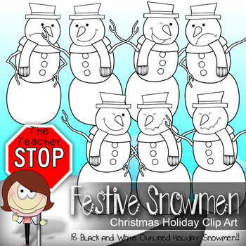 Winter Snowman Clip Art {The Teacher Stop}