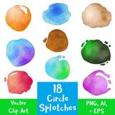 18 Circle Paint Splotches | Watercolor Vector Clip Art Graphics | PNG, AI, EPS