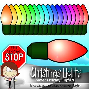 Colorful Christmas Light Bulbs - 18 Bulbs {The Teacher Stop}