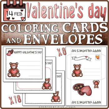 18 Coloring Valentine's Day cards + 6 envelopes ❤ CUT COLOR & GLUE