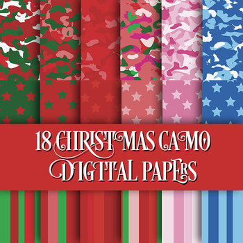 18 Craft Papers Christmas Colors in Camo Stars Stripes - 12 x 12 - Printables