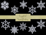 18 Crystal Snowflakes Clip Art, Separate PNG Files, High Resolution