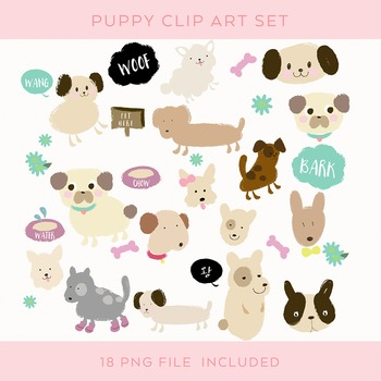 18 Dogs Clip Art Set