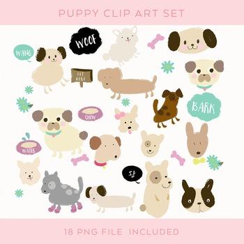 18 Dogs Clip Art Set