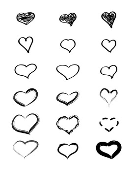 18 Doodle Hearts Hand Drawn Clipart | Vector Graphics | PNG + AI