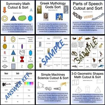 18 Elementary Cut Sort and Paste Bundle - Worksheet Activity