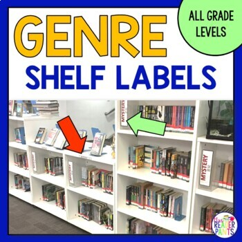 18 Fiction Genre Shelf Labels (includes 18 shelf lip signs)