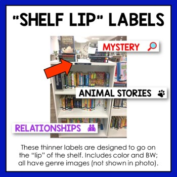 20 Fiction Genre Shelf Labels (includes 252 total PNG files to print)
