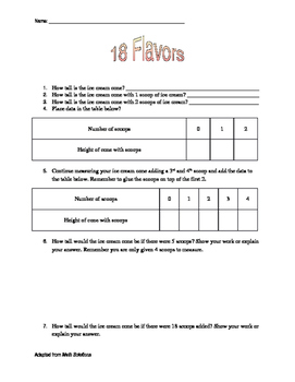 18 Flavors Modified Project Worksheet