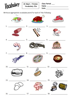 18 Food Unit (Meat & Protein) Vocabulary IDs for Any Language