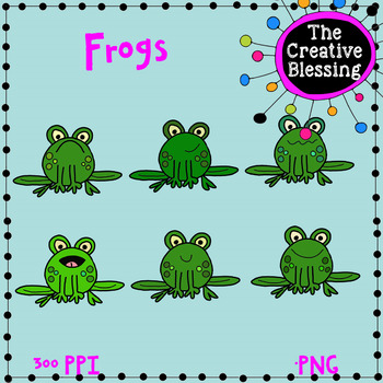 18 Hand Drawn Frog Clip Art for Commercial and Personal Use