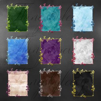 18 Glitter and Watercolor Leaf Branch Floral Frame Card Digital Images 8.5 x 11