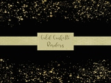 18 Gold Confetti Borders, Separate Transparent PNG files, High Resolution.