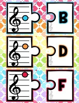 Music Notes Center, Puzzle, Matching, Posters, Treble Clef, Bass, Staff, Compose
