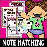 February Rainbow Hearts Music Notes Matching Flashcards