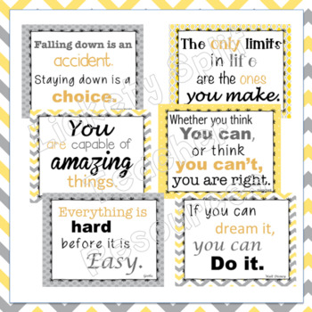 Growth Mindset Inspirational Quote Posters in Gray and Yellow